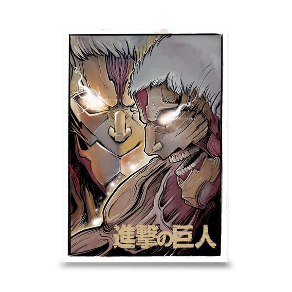 Le Titan Cuirassé (鎧の巨人,Yoroi no Kyojin) est un Titan Primordial possédant des plaques de peau blindées sur son corps. Il est actuellement en possession de Reiner Braun, mais il sera peut-être bientôt transmis soit à sa jeune cousine, Gaby, soit à Falco Gleis.